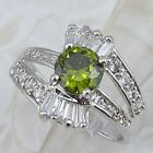 Size 5.5 6.5 7.5 Nice Gallant Green Peridot Gems Jewelry Gold Filled Ring K724