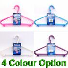 10 x Child Plastic Coat Hangers Hooks 4 Girls Clothes Pink Blue White Purple