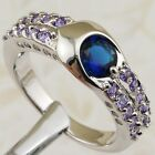 Size 6 7 8 9 Nice London Blue Toapz Multi Sapphire Gold Filled Woman Ring K2213