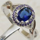 Size 6 7 8 9 Crazy Blue Sapphire Topaz Jewelry Gold Filled Woman Gift Ring K2229
