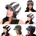 HOT Women Real Rabbit Fur Knitted Visor Winter Skiing Snowboarding Outdoor Hat