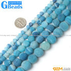 "Round Frosted Blue Agate Loose Beads Gemstone Strands 15"" 6-14 mm Crafts Making"