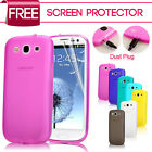 Ultra Thin Silicone GEL Case With Dust Plug FOR Samsung S3 I9300 + FILM