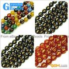"Round Tibetan Agate Beads With Mantra Sign Gemstone Loose Beads 15"" 10mm Crafts"