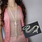 Trendy Women Lady White Artificial Pearls Long Sweater Chain Charms Necklace New