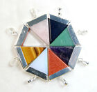 25x30mm Natural Gemstones Pointed Reiki Chakra Triangle Pendant Beads 1pcs