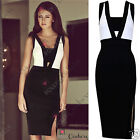 Womens Cocktail Evening Bodycon Black Knee Length Split Party Pencil Smart Dress