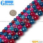 "Round Mixed Color Agate Loose Beads Gemstone Strand 15"" 8-16mm for Crafts Making"