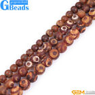 "Brown Tibetan Agate Gemstone Mystical Eye Round Beads For Jewelry Making 15"" GB"