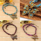 Retro Crystal Beads Metallice Butterfly Wrap Resin Pendant Multilayer Necklace