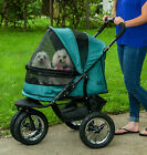 Pet Gear  NEW  NO-ZIP Double Stroller with Plush Pad and Weather Cover