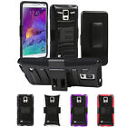 Belt Clip Holster Hybrid Rugged Cover Hard Stand Case For Samsung Galaxy Note 4