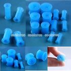 Pick Gauge Star Blue Flexible Silicone Flared Ear Tunnel Plug Expander Stretcher