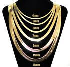 "Mens Herringbone Yellow 14k Gold Plated 4 to14mm wide 20"" 24"" 30"" Chain Necklace"