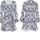 Women Cotton Tops Casual Tee Floral Print Shirt Flare Sleeve Loose Career Blouse
