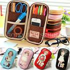 Girl Cute Little Doll PU Pen Pencil Case Stationery Handbag Cosmetic Makeup Bag