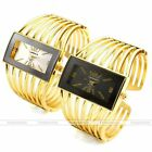 Analog Quartz Rectangle Case Golden Chunky Metal Bangle Cuff Wrist Watch Gift