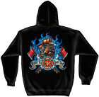 New First In Last Out Firefighter Bulldog Maltese Cross Hooded Sweatshirt