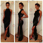 Womens Black Lace Split Long Maxi Prom Formal Cocktail Evening Ball Gown Dress