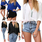 Womens Fashion European Casual Chiffon V-neck Long Sleeve T-Shirt Blouse from UK