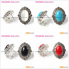 Fashion Beauty 15x20mm Oval Beads Carved Tibetan Silver Stud Earrings 1 pair