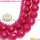 "Beauty Round Faceted Plum Jade Gem Jewelry Making Beads Strand 15"" Size Select"