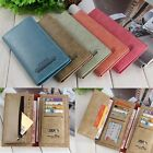 Men Unisex ID Credit Business Card Clutch Bifold Leather Zip Coin Wallet 5colors