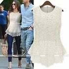 Lace Crochet Peplum Fit Crew Neck Casual Party Tee Sleeveless Shirt Blouse Tops