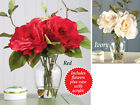 Collections Etc Faux Rose Floral Arrangement In Glass Vase