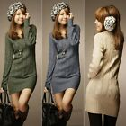 New Womens Long Sleeve Warm Winter Knit Slim Plus Size Tunic Sweater Dress