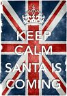KC31 Vintage Style Union Jack Keep Calm Santa's Coming Christmas Poster A2/A3/A4