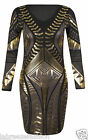 "Ladies Girls Womens Bodycon Dress Gold Foil Print Short Length 32"" Approx Black"