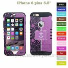For iPhone 6 Plus 5.5 Anchor Floral Design Hybrid Rugged Impact Armor Case Cover