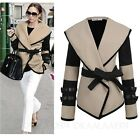 Ladies Fashion Two Tone Belted Jacket Womens Cardigan Winter Trench Coat sz 14-6