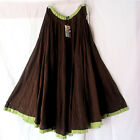 Sacred Threads Long  Full Skirt   Unlined Brown with Green NWT Sz S-XL 213923