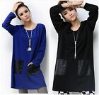 Faux Leather Pocket Splice Pregnant Women Tops Casual Maternity Simple Blouse