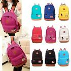 Women Girl Cat Ear Backpack Schoolbag Campus Canvas Bag Outdoor Hiking Rucksack