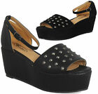 NEW WOMENS LADIES PEEPTOE ANKLE STUD MID HEEL WEDGE PLATFORM SANDALS SHOES 3-8
