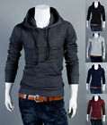 New Men's Korean Style Slim Fit Casual Zip Hooded Cardigan Sweater Coat