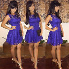 New Women Ladies Sleeveless Lace Bodycon Cocktail Evening Party Short Mini Dress