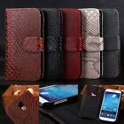 Snake Effect Leather Flip Wallet Case Cover Pouch For Samsung Galaxy S4 I9500