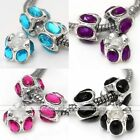 5x Acrylic Crystal Silver Plated European Charms Spacer Bead Fit Snake Bracelet