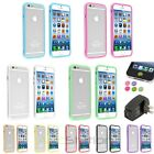 Color TPU Bumper Frame Button+Black AC Charger+Sticker For iPhone 6 4.7 inch