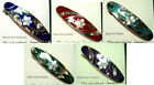 "Hair Barrette Floral design w/ Mother of Pearl Inlays & Glossy Enamel 3.5"" CF"