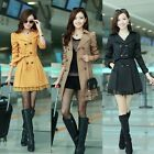 Fashion Slim Womens Belted Long Wind Coat Lace Trim Dust Jacket Winter Outerwear