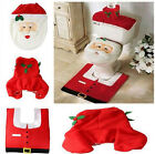3Pcs Christmas Decoration Santa Toilet Seat Tank Cover Ottoman Rug Bathroom Sets