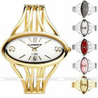 Womens Lady Oval Gold/Silver Tone Bangle Cuff Bracelet Analog Quartz Wrist Watch