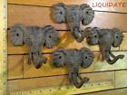 lot of 4 rustic ELEPHANT COAT Hat Wall HOOKS 4x5 cast iron antique vintage style
