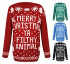 Womens Sweater Knitted Christmas Novelty Xmas Ya Filthy Animal Snowman Jumper
