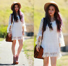 AU 8-14 Womens Vintage Hippie Gypsy Summer Beach Smock Shirt Lace Tops Dress